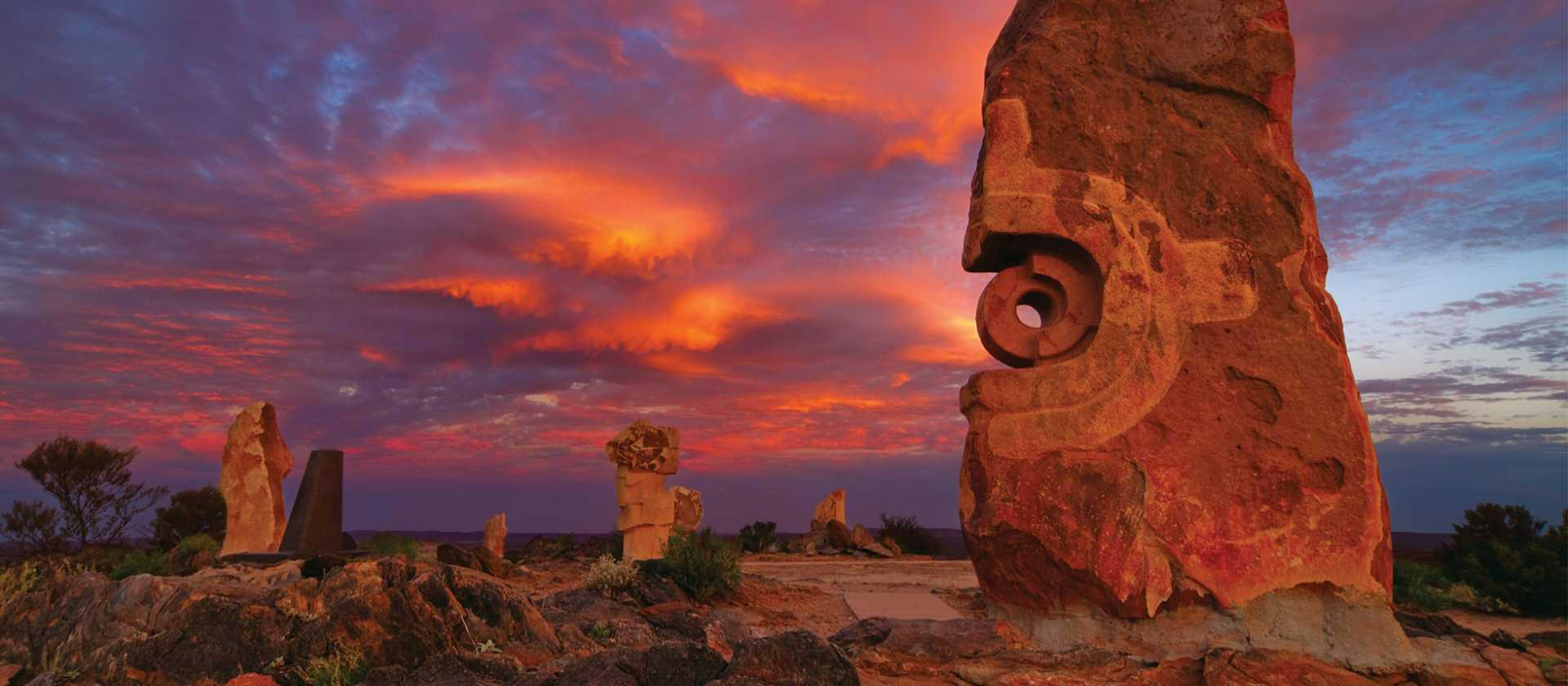 Broken Hill's Living Desert Sculptures at Sunset
