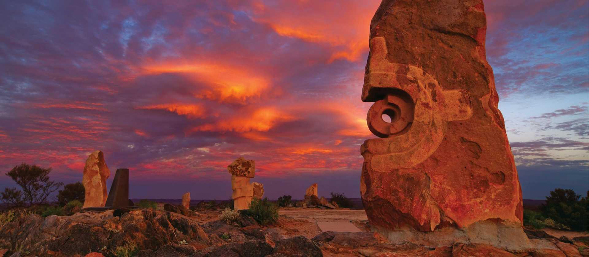 Broken Hill's Living Desert Sculptures at Sunset